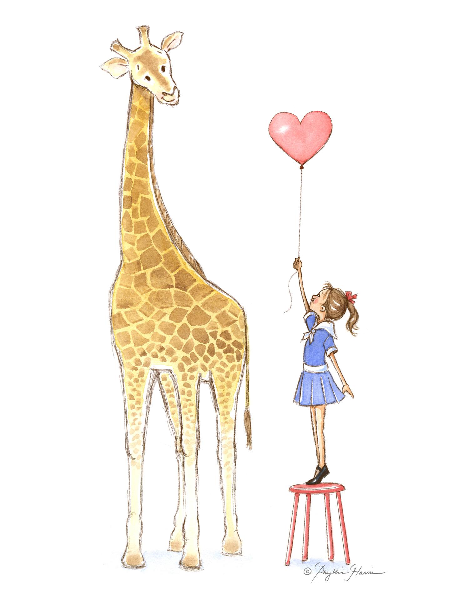Giraffe And Little Girl Kc Studio