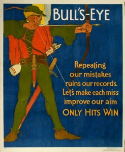 William Frederic Elmes, Mather & Company, Bull's-Eye, 1929, color lithograph, 44 x 36 inches, collection Hagley Museum and Library, Wilmington, DE.