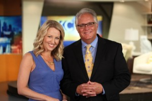 KC Live co-hosts Michelle Davidson Bratcher and Joel Nichols.  Photo courtesy of KSHB.
