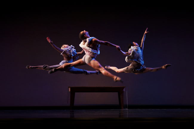 Dancers Sarah Chun, Alyssa Gold, and Michael Davis in the piece Memory Palace.