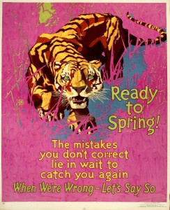 William Frederic Elmes, Mather & Company, Ready to Spring!, 1929, color lithograph, 44 x 36 inches, collection Hagley Museum and Library, Wilmington, DE.