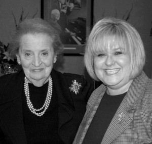 Writer and editor Kellie Houx with former Secretary of State Dr. Madeleine Albright.