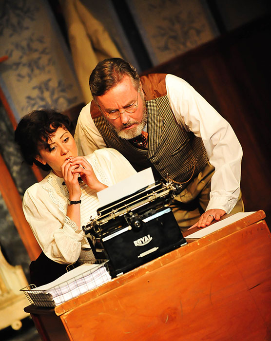 Katie Kalahurka as Myra Babbage and Robert Gibby Brand as Franklin Woolsey in Ghost-Writer. Photo by Manon Halliburton.
