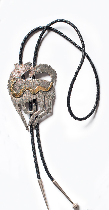 Coyote with Snake bolo by Bob Haozous, Chiricahua Apache