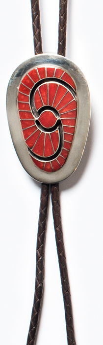 Red coral and silver bolo by Amy Quandelacy, Zuni