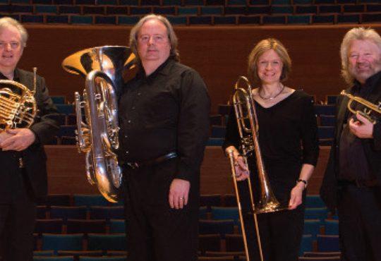 Martin Hackleman, horn; Tom Stein, tuba; JoDee Davis, trombone; and Keith Benjamin, trumpet; are part of the UMKC/FredBrass Institute. Photo by James Allison.
