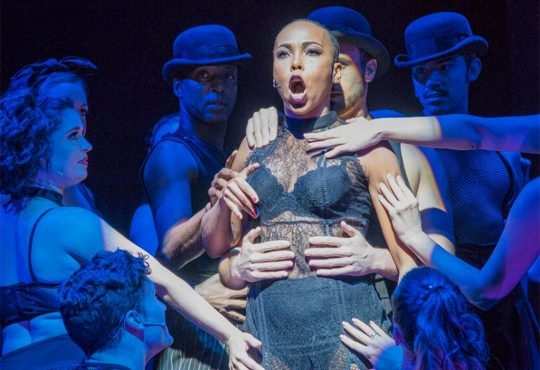 Dionne Figgins as Velma Kelly in the New Theatre production of Chicago. Photo by Roy Inman.
