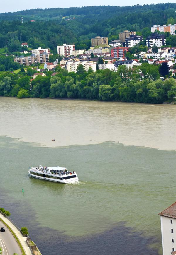 Passau, Germany and three rivers Danube, Ilz, Rhine converging. (photo by Jean Frankian)