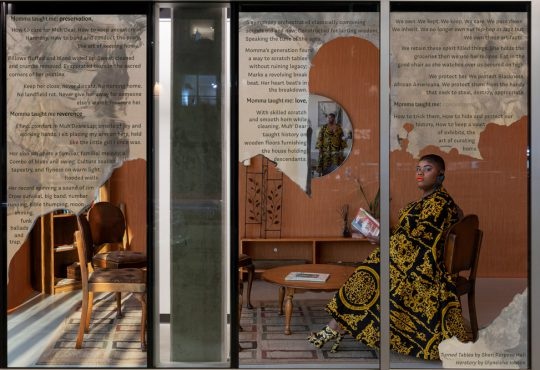"""There are Black people in the future,"" a collaborative window installation, Goethe Pop Up Kansas City"