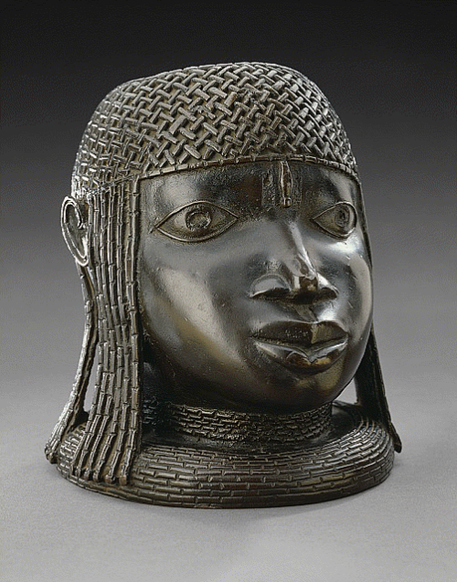 """""""Commemorative Head of an Oba"""", Nigeria, Benin Kingdom, 16th century. Brass, height: 9 1/8 inches. Credit: Nelson-Atkins Museum of Art"""