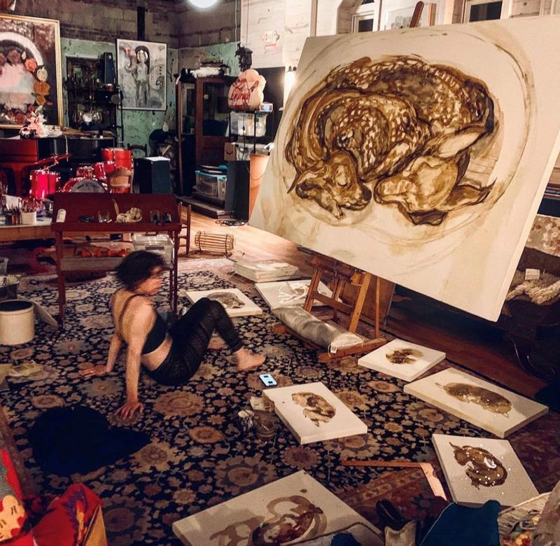 Image of the artist in her Kansas City art studio