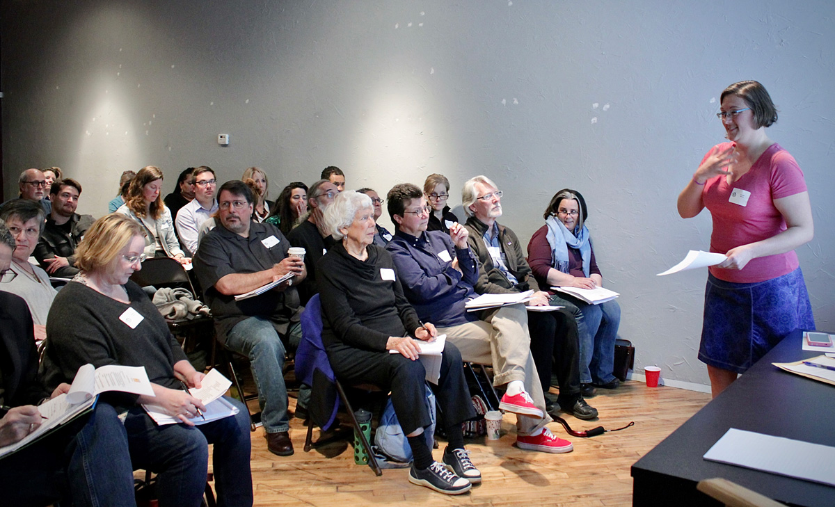 """Danielle Merrick, executive director of Kansas City Volunteer Lawyers & Accountants for the Arts, spoke at an """"Ask the Experts"""" program at the Kansas City Artists Coalition in September 2019. (photo by Marissa Starke)"""