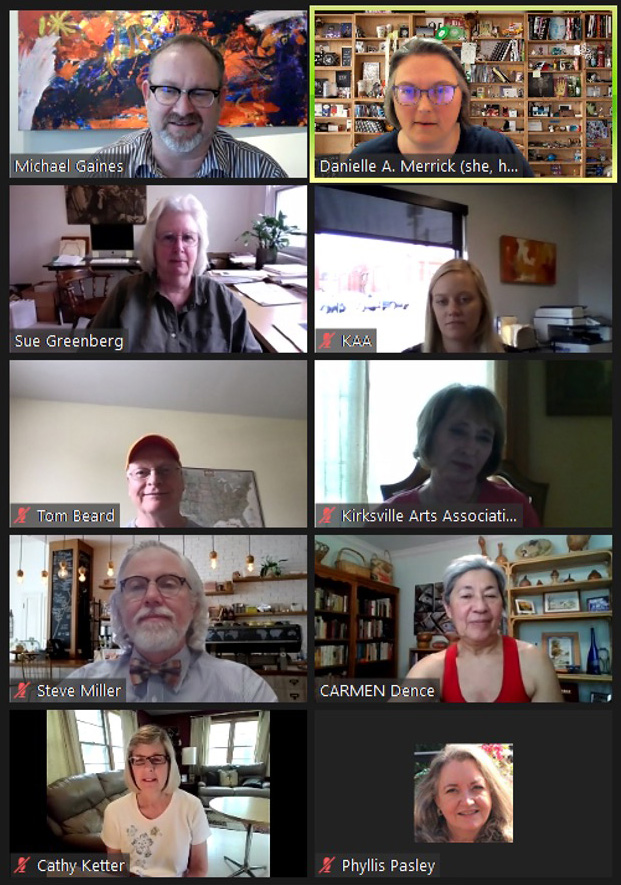 Screen shot from an April 2021 Zoom call featuring KCVLAA and the St. Louis Volunteer Lawyers and Accountants for the Arts
