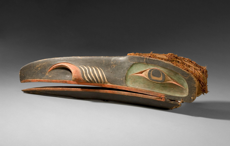 Raven Mask, North American Indian, Kwakwaka'wakw (Kwakiutl), British Columbia, Canada, ca. 1870. Wood, pigment, metal, and cedar bark, 11 1/4 x 11 x 42 inches (28.6 x 27.9 x 106.7 cm). Purchase: William Rockhill Nelson Trust, 31-125/7.
