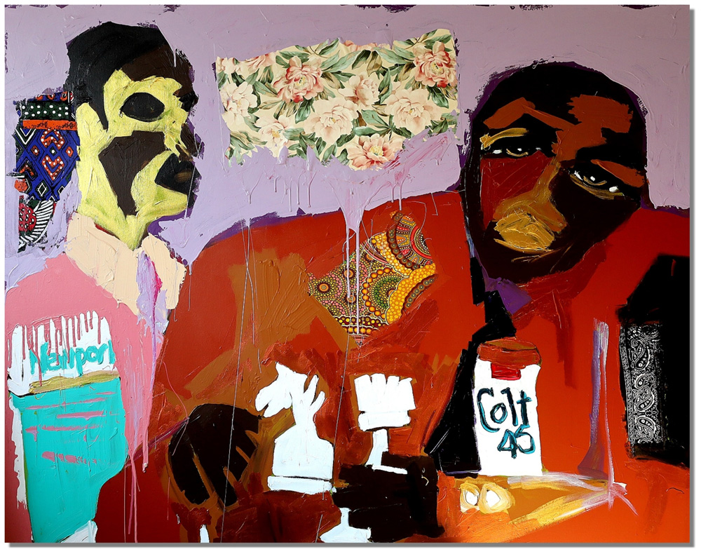 Harold Smith, Friday Night Blues, 2021. Acrylic, spray paint, fabric on canvas. 48 x 60 inches  (129.9 x 152.4 cm.)