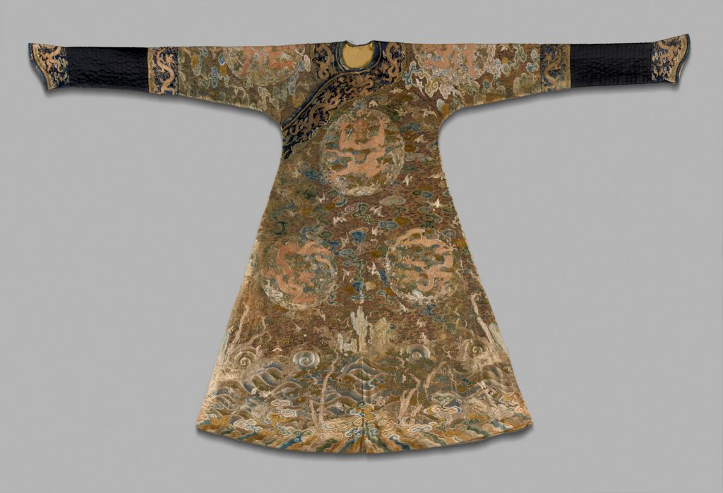 One Hundred Cranes Imperial Robe, Chinese, Late 17th- early 18th- century Qing Dynasty (1644–1911). Embroidered damask, 57 7/8 x 91 inches. Purchase: William Rockhill Nelson Trust, 35-275.