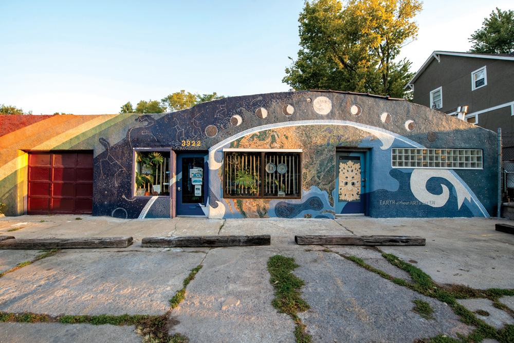 Veteran Kansas City ceramic artist Rebecca Koop recently completed this tile mural on the façade of her studio at 3922 St. John Ave. in the Historic Northeast neighborhood.