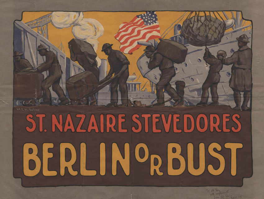 St. Nazaire Stevedores Poster, illustrated by Lt. E.M. Behar