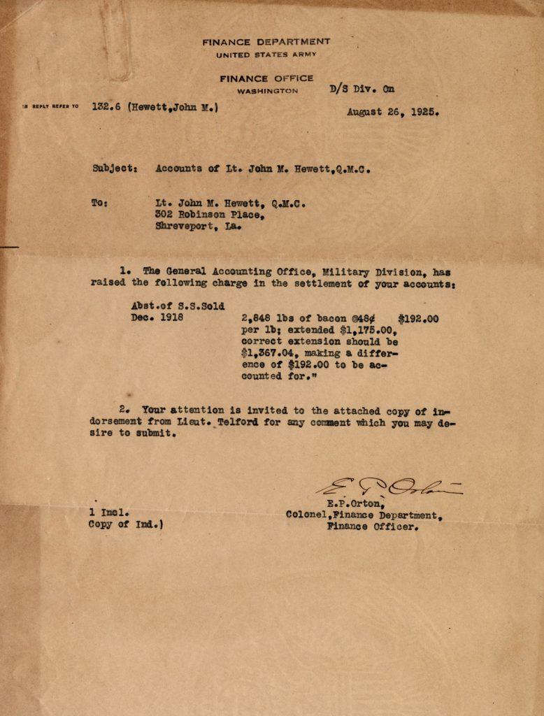 Correspondence regarding missing money for bacon purchased in December 1918