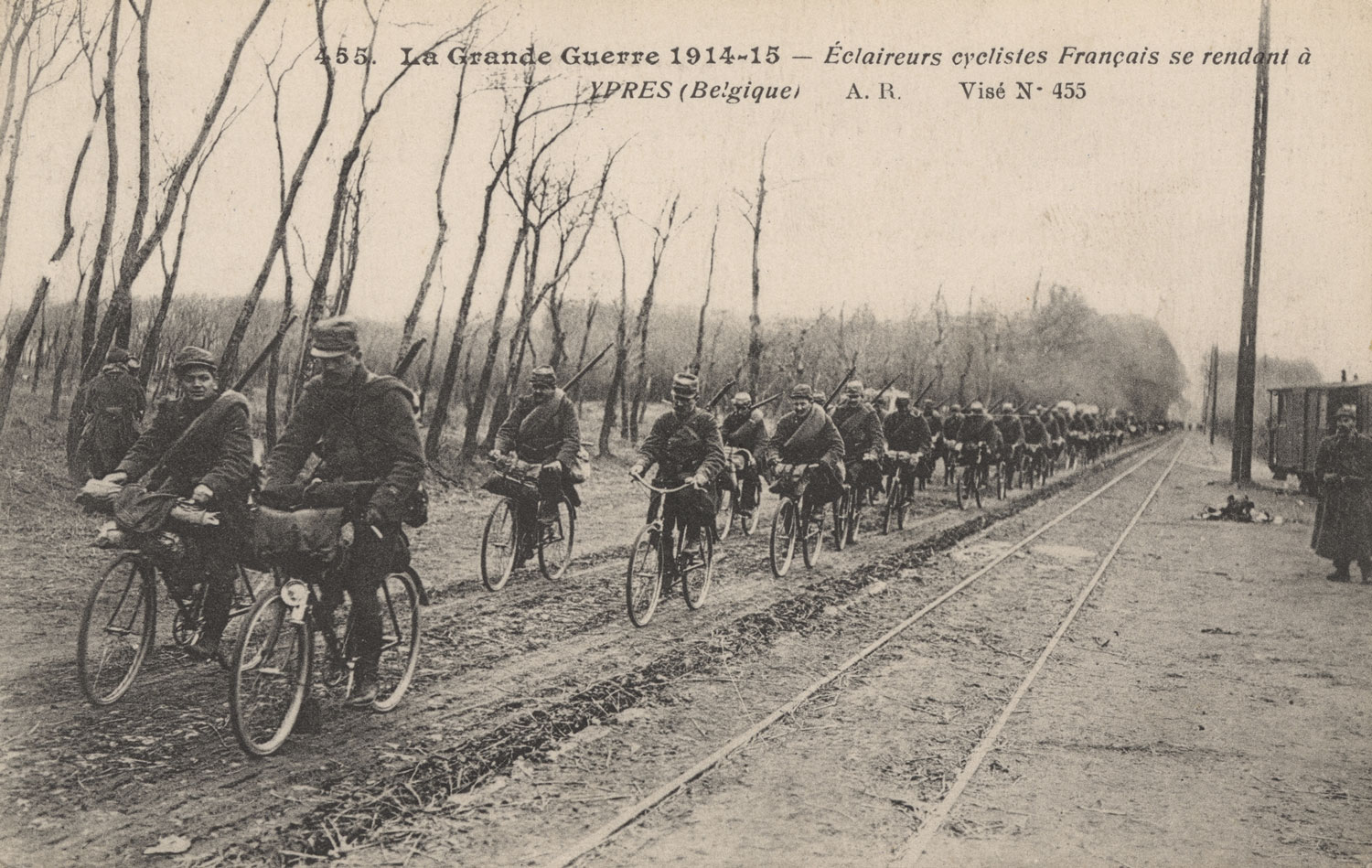 Postcard of French military bicycle scouts riding on a road en route to Ypres, Belgium, in formation (all photos courtesy of National WWI Museum and Memorial)