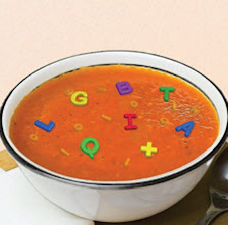 An illustration of a bowl of alphabet soup featuring the letters LGBTQIAX